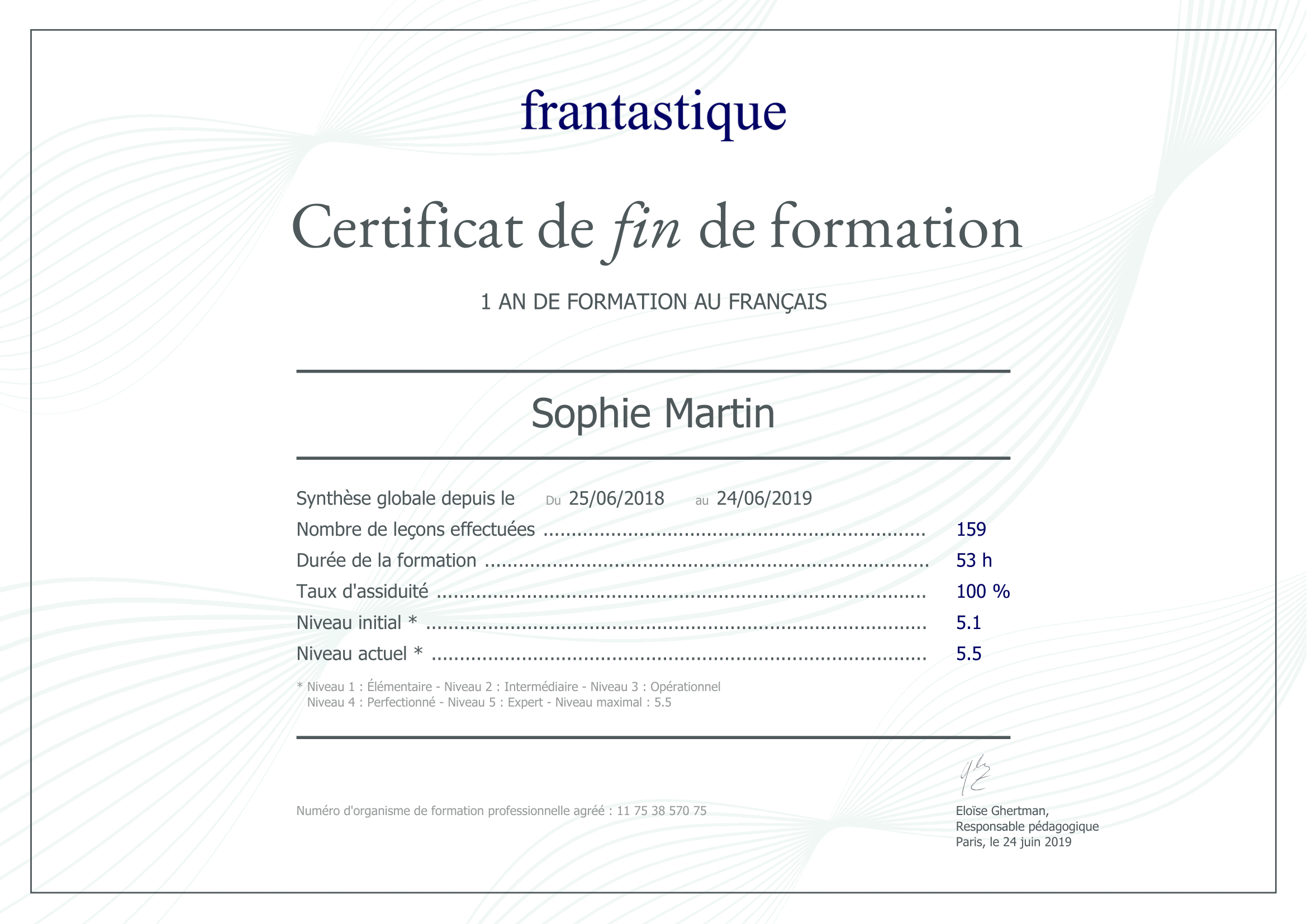 CPF certification anglais