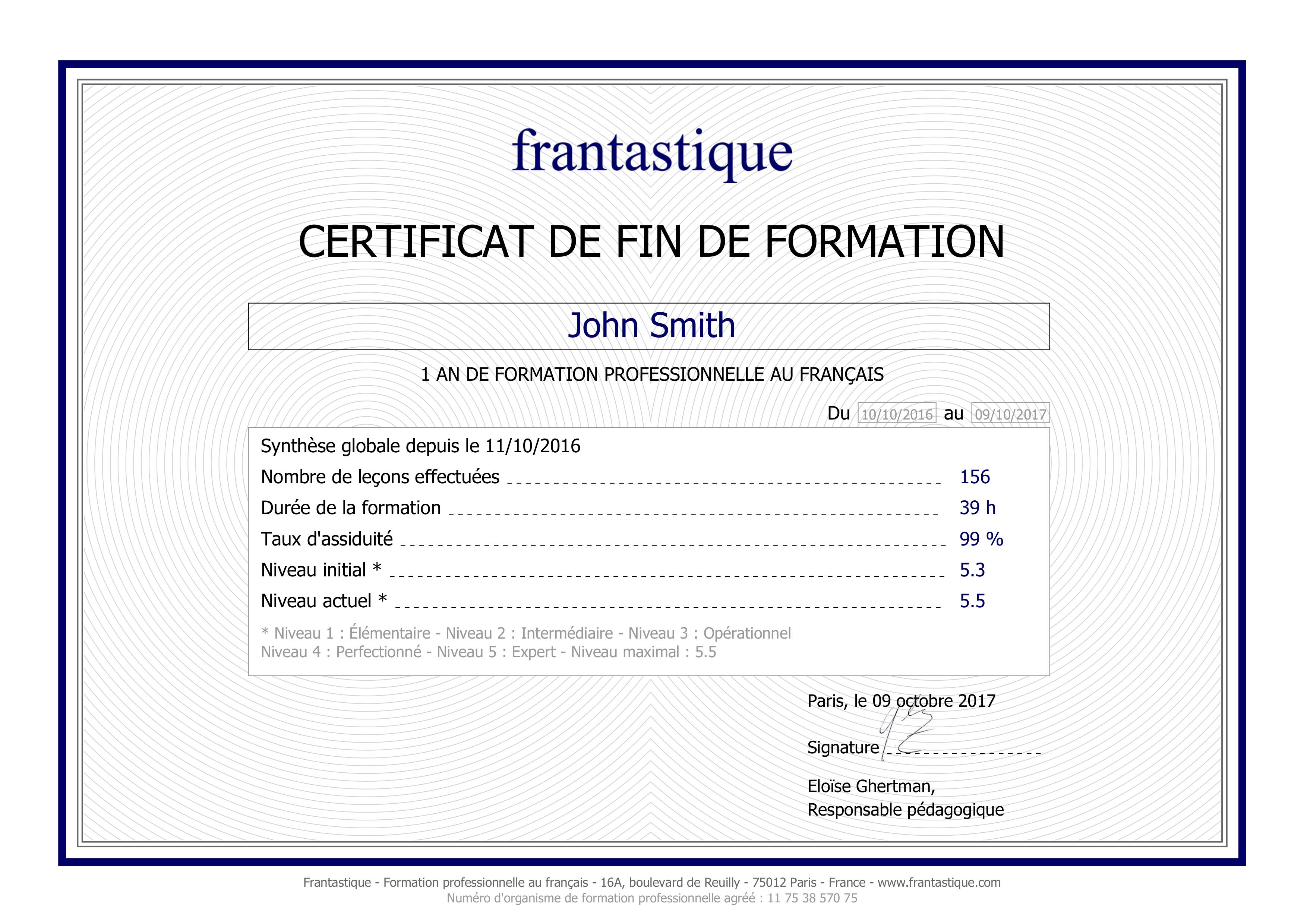 CPF certification français