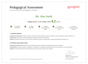 Pedagogical Assessment Gymglish